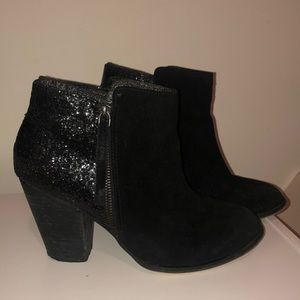 Black suede booties with sequin feature